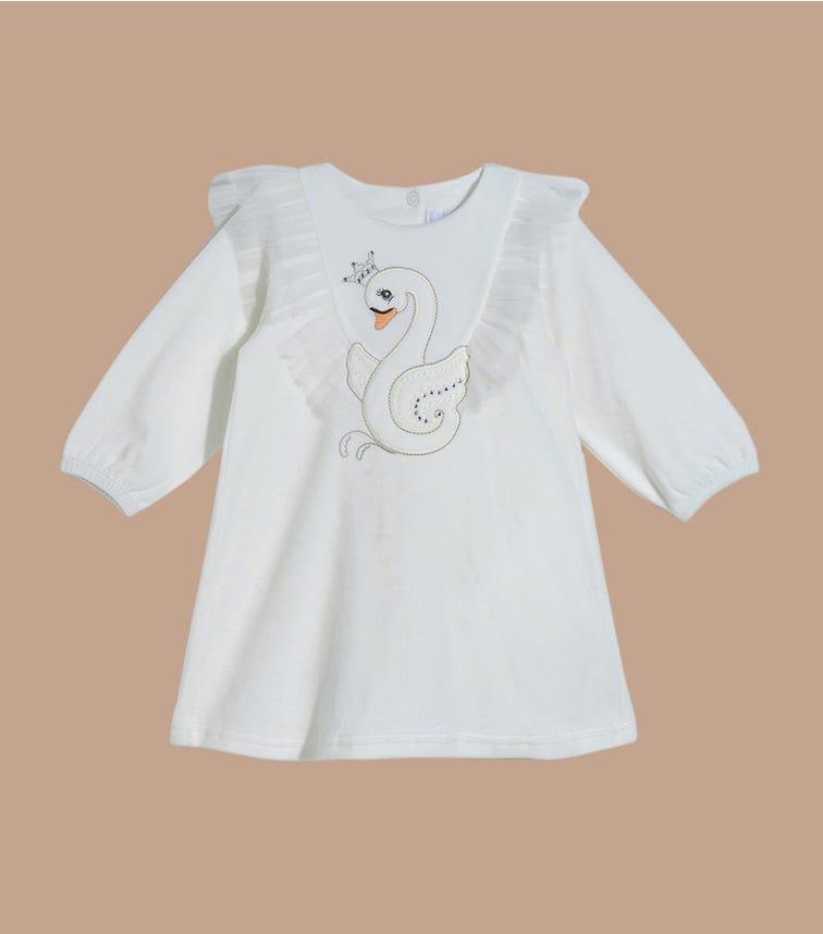 SOFIJA Swan Velour Dress With Tulle Decoration