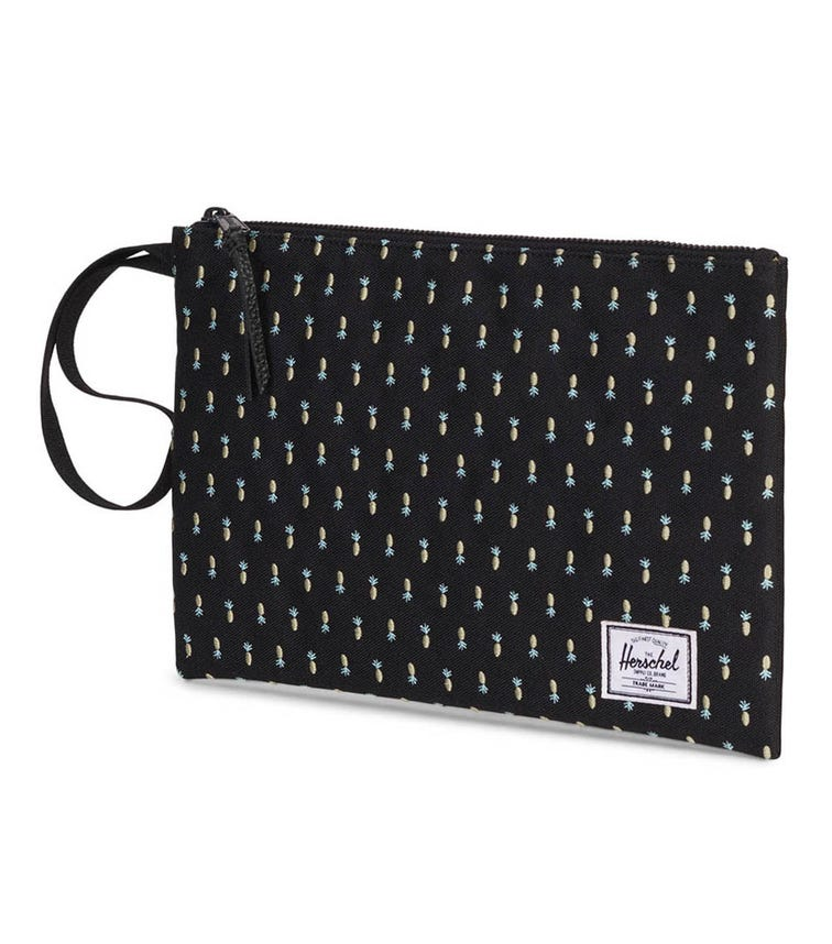 HERSCHEL Network Large Pineapple Embroidery Pouch - Black