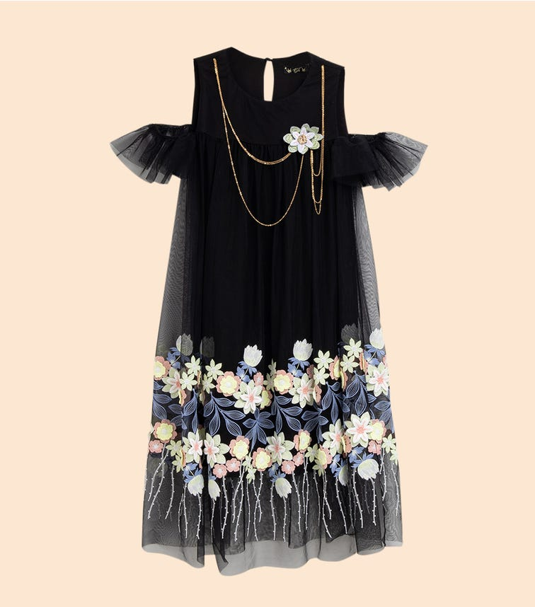 CHOUPETTE Double Combined Dress With Embroidery On The Mesh