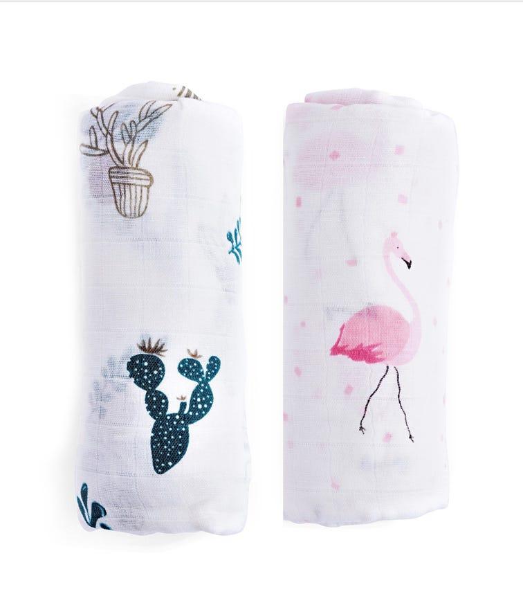 ANVI BABY Set of 2 Organic Bamboo Muslin Swaddle Wrap - Flamingo & Cactus
