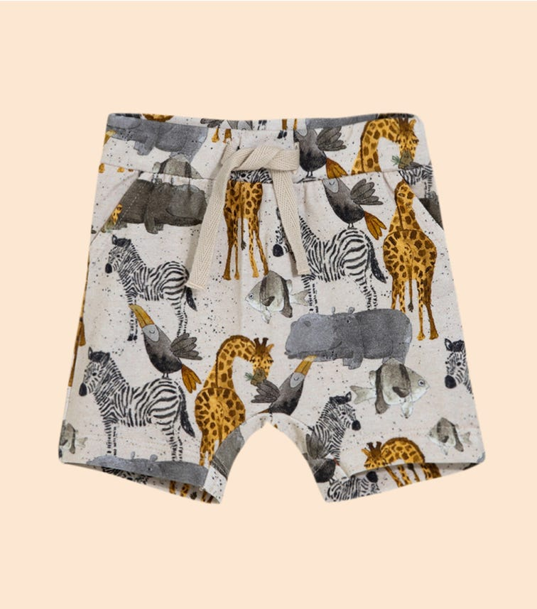 NAME IT Desert Sand Savanah Animals Shorts