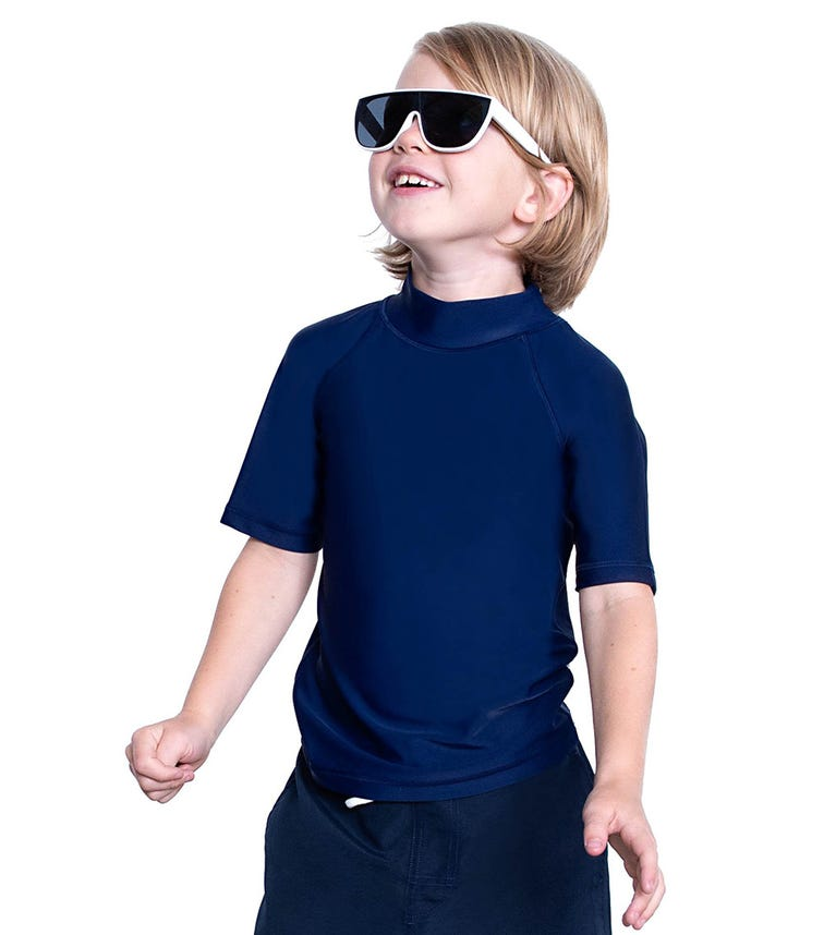 COEGA SUNWEAR Kids Unisex Rash Guard SS - Navy School Basic