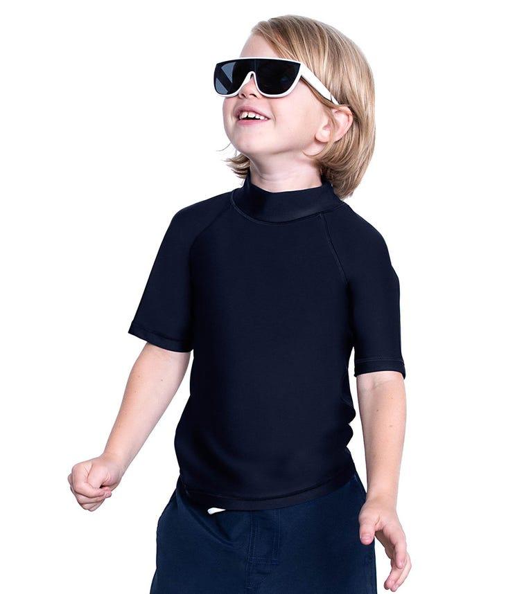 COEGA SUNWEAR Kids Unisex Rash Guard SS - Black Basic