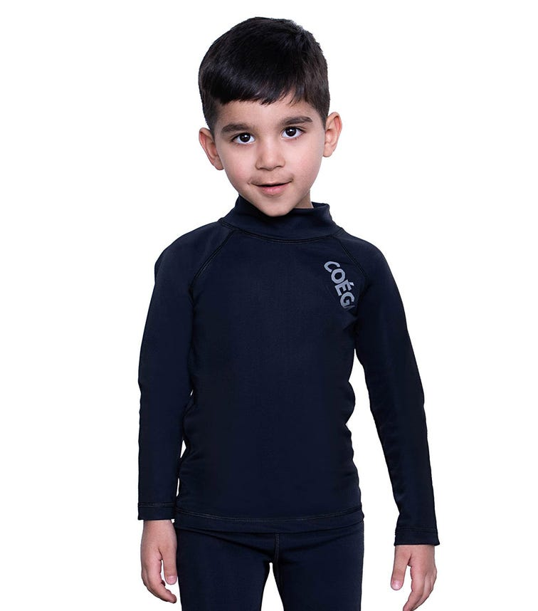 COEGA SUNWEAR Kids Unisex Rash Guard LS - Black Basic
