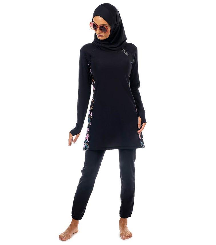 COEGA SUNWEAR Ladies Islamic 3pc Swimsuit - Black Orchids