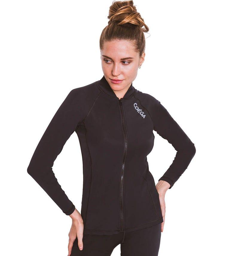 COEGA SUNWEAR Ladies Rash Guard LS with Full Zip - Black