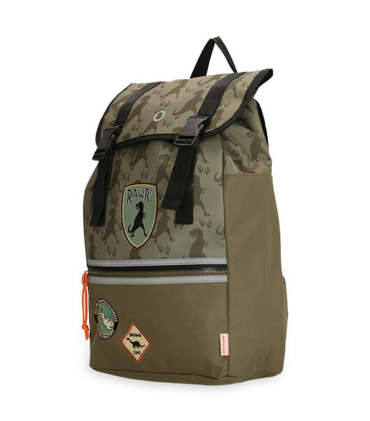 BEAGLES Over-Flap Closure Backpack - Olive Dinosaurs
