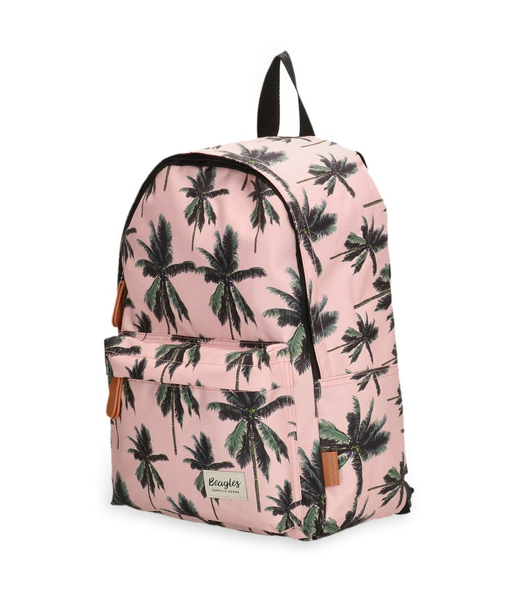 BEAGLES Rounded Zipper Closure Backpack - Tropical Palm