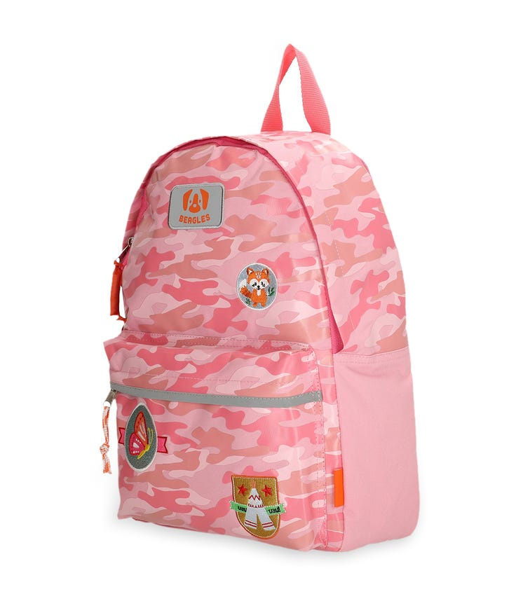 BEAGLES Rounded Zipper Closure Backpack - Pink Scouting