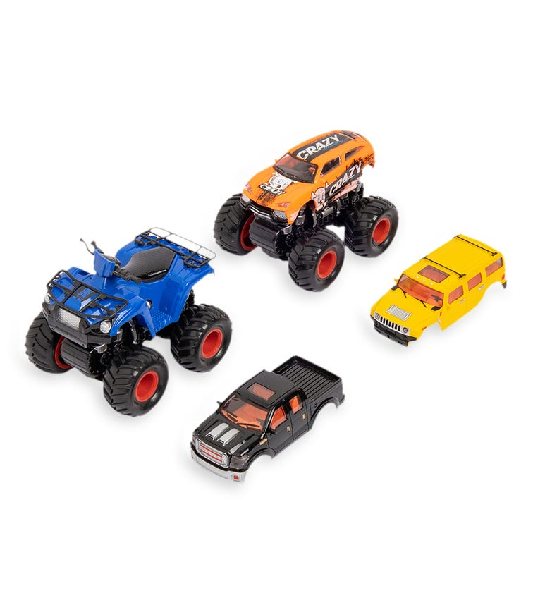 DPOWER 4WD Friction Car 2 Pieces With 2 Covers Use Wheels