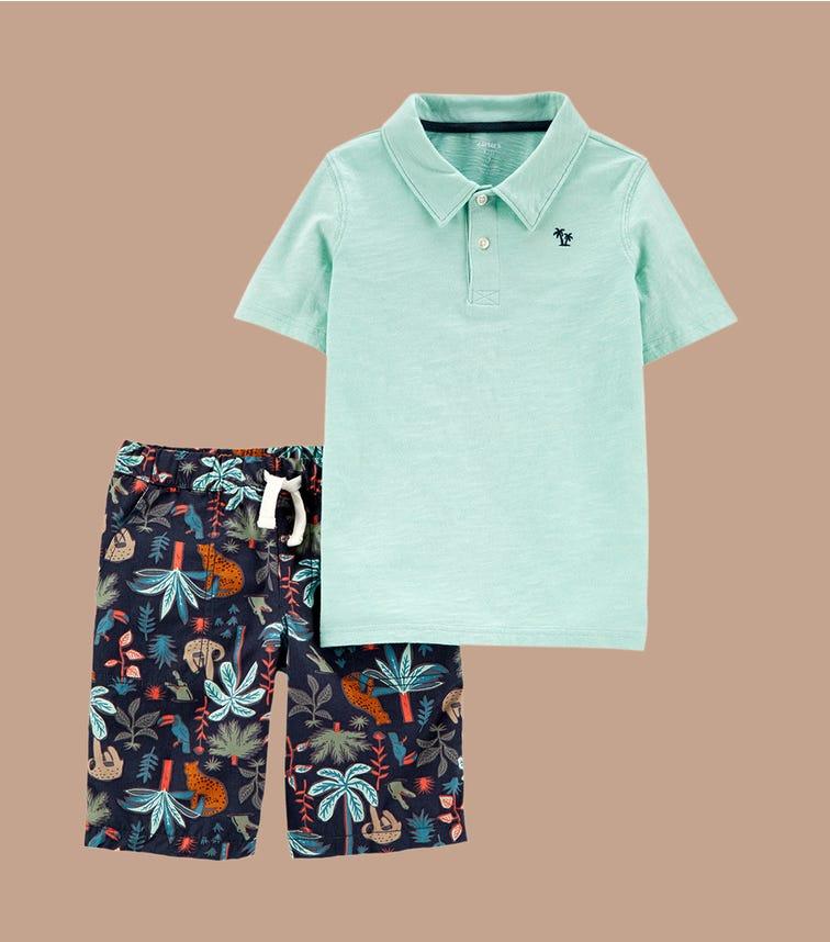 CARTER'S 2-Piece Slub Polo & Tropical Short Set