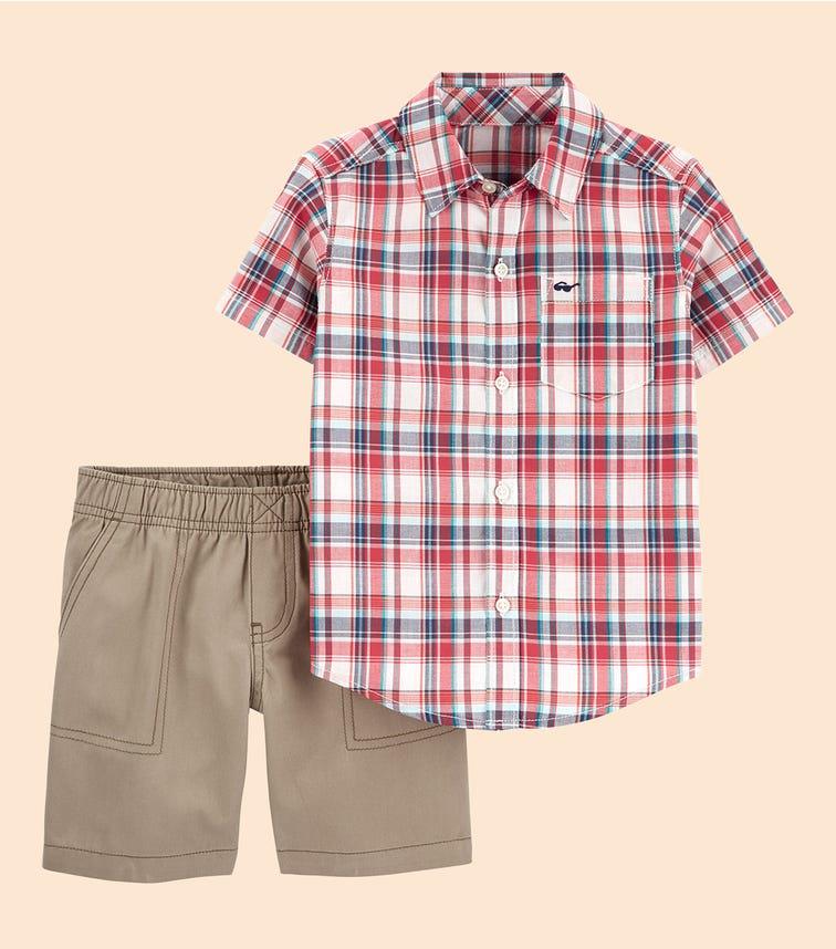 CARTER'S 2-Piece Plaid Button-Front Shirt & Canvas Short Set