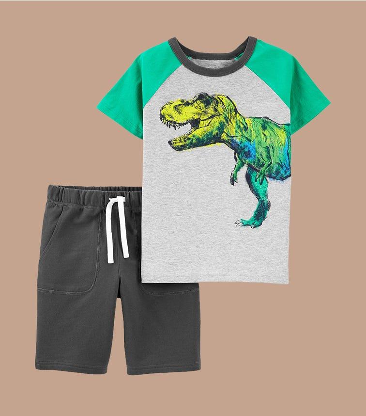 CARTER'S 2-Piece Dinosaur Jersey Tee & Short Set