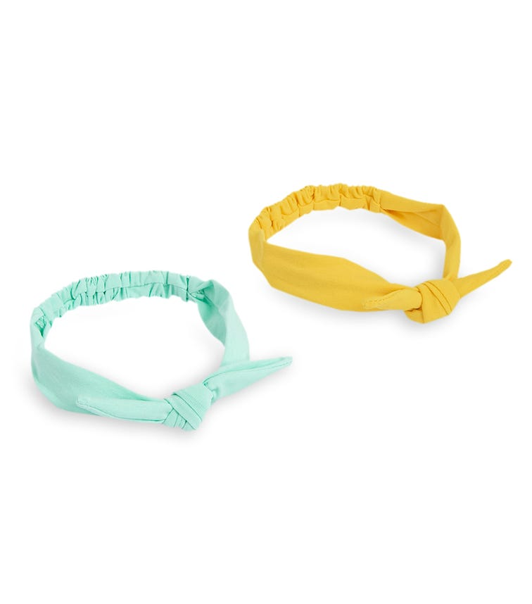 PIXY LOVE 2-Pack Mint & Yellow Scrunchie Knotted Headband