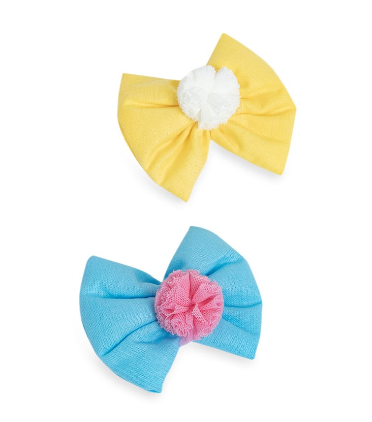 PIXY LOVE 2-Pack Yellow & Blue Grek Pom Bow Clips