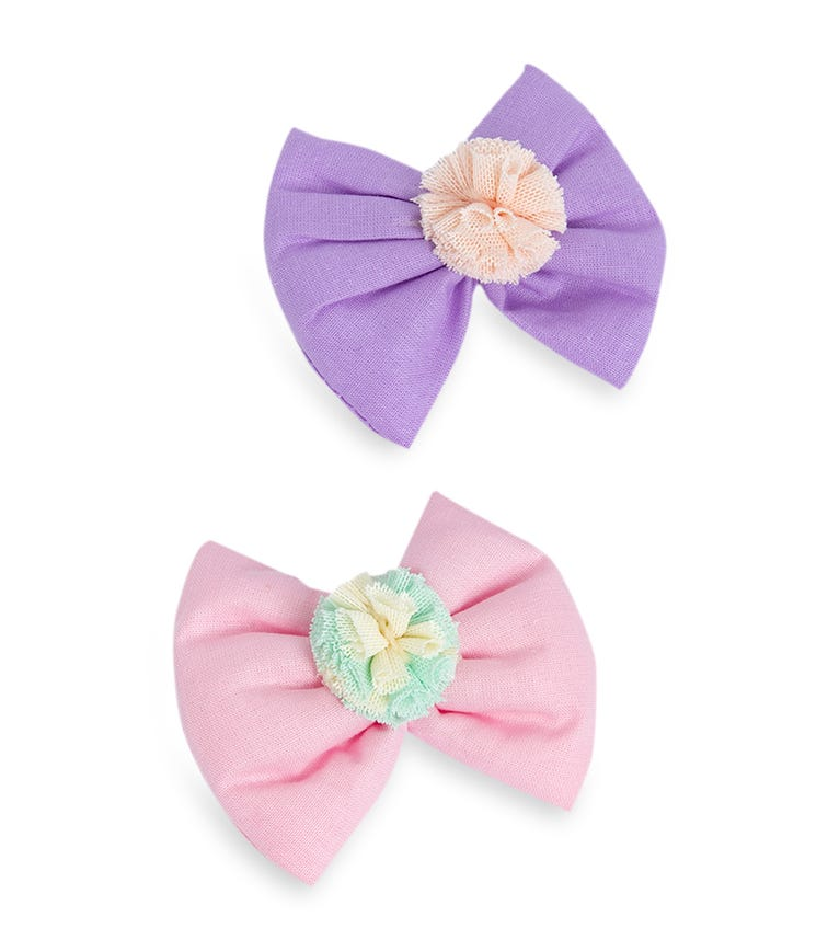 PIXY LOVE 2-Pack Lilac & Pink Grek Pom Bow Clips