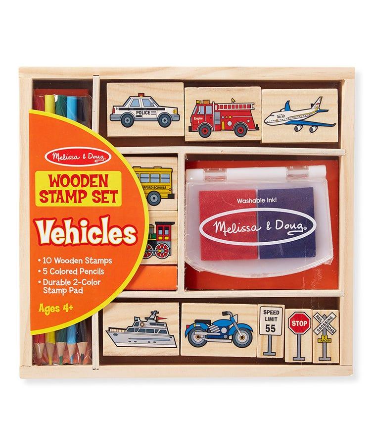 MELISSA & DOUG Wooden Stamp Set - Vehicle