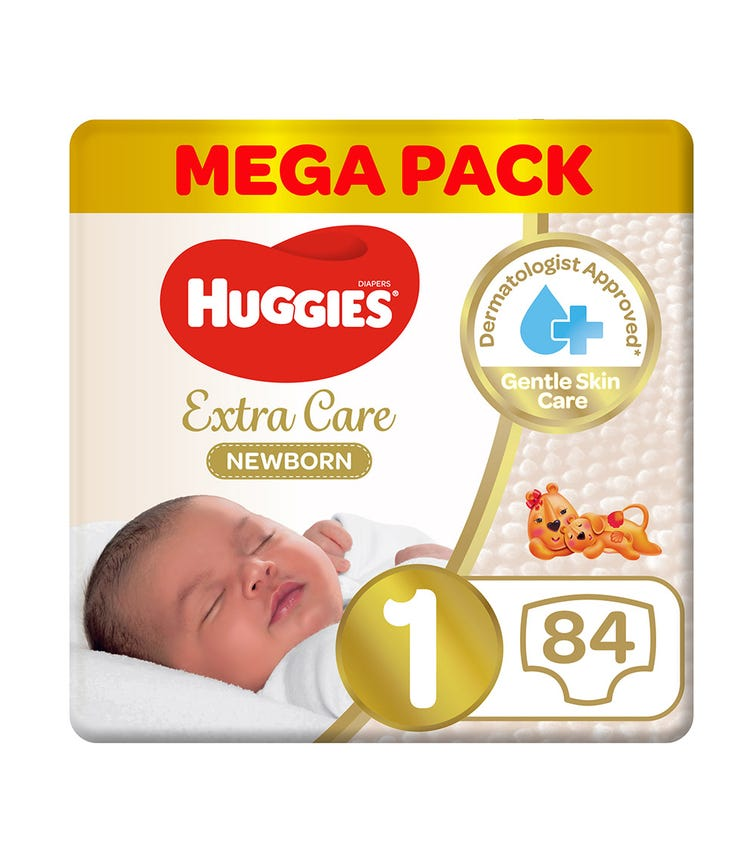 HUGGIES  New Born Diapers, Size 1, Carry Pack, Upto 5 KG, 84 Diapers