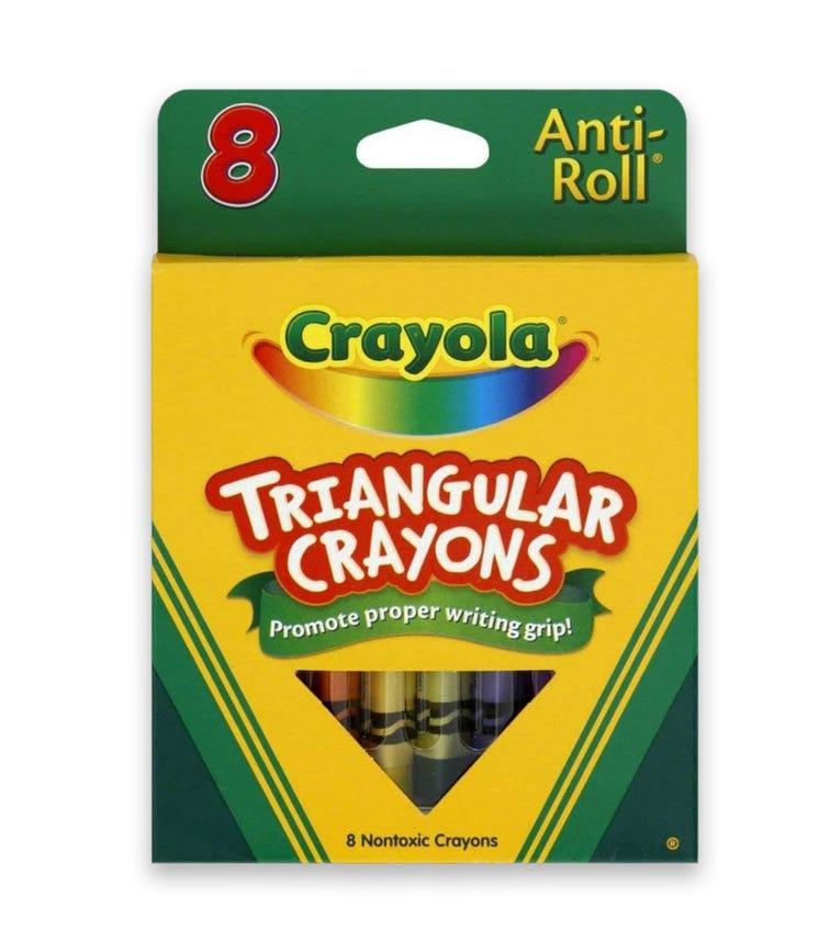 CRAYOLA 8 Crayon Set Antiroll Triangular Crayons