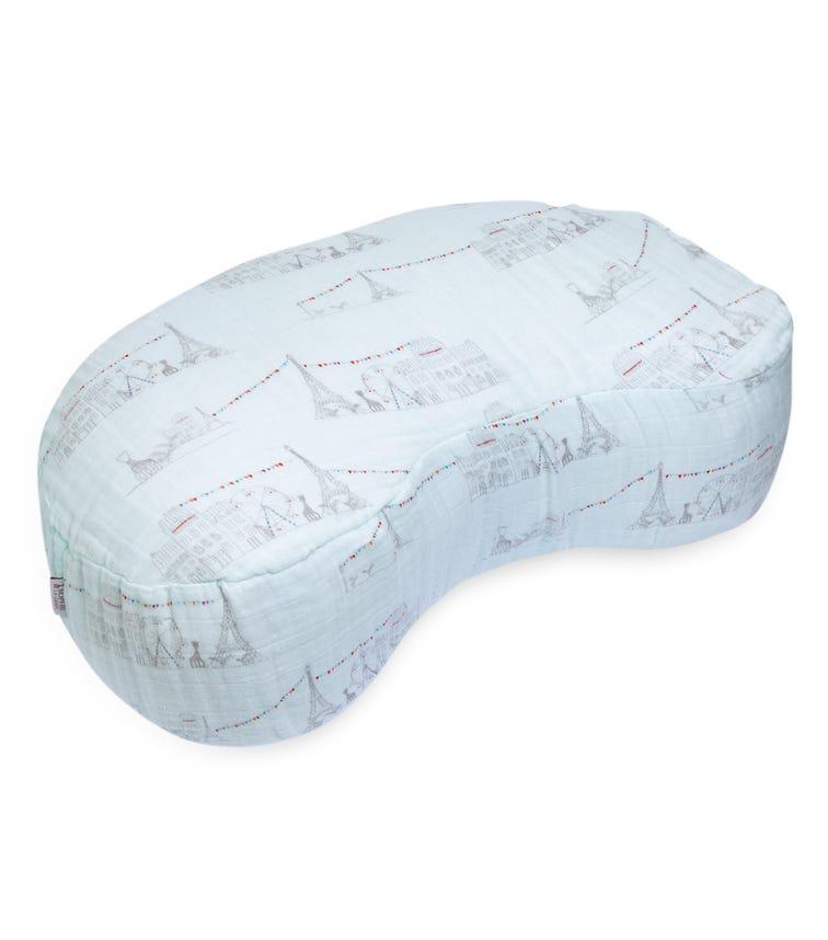 BEBE AU LAIT Carousel Blue Muslin Nursing Pillow