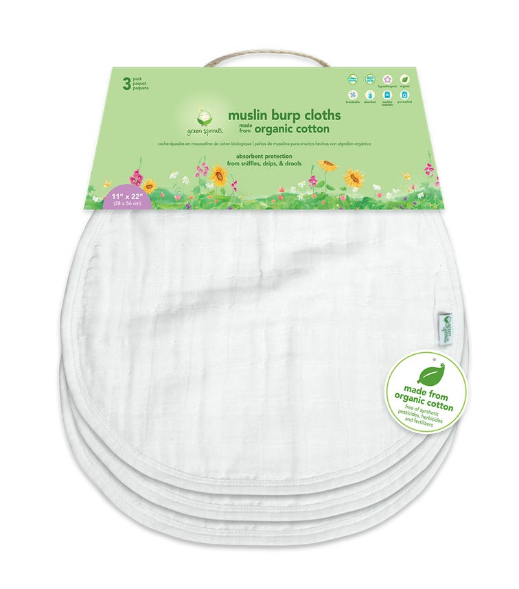 GREEN SPROUTS 3-pack Muslin Burp Cloths Made From Organic Cotton (21 x 61 CM) - White Set