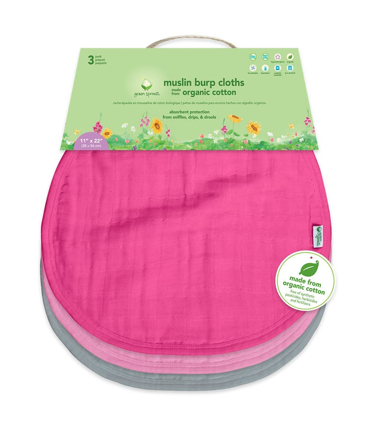 GREEN SPROUTS 3-pack Muslin Burp Cloths Made From Organic Cotton (21 x 61 CM) - Pink Set