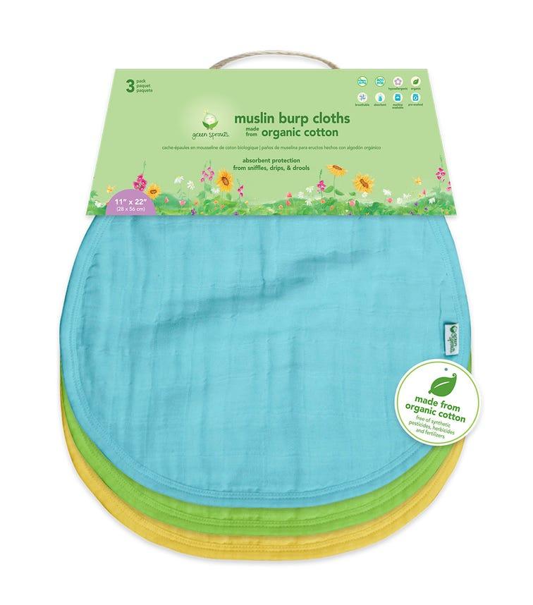 GREEN SPROUTS 3-pack Muslin Burp Cloths Made From Organic Cotton (21 x 61 CM) - Aqua Set