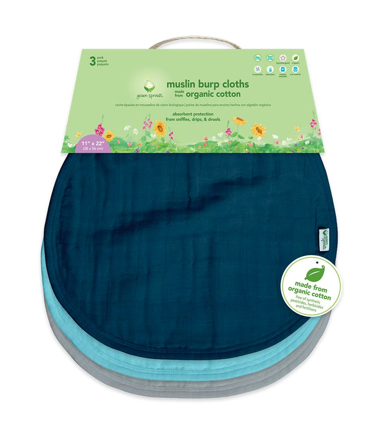 GREEN SPROUTS 3-pack Muslin Burp Cloths Made From Organic Cotton (21 x 61 CM) - Blue Set