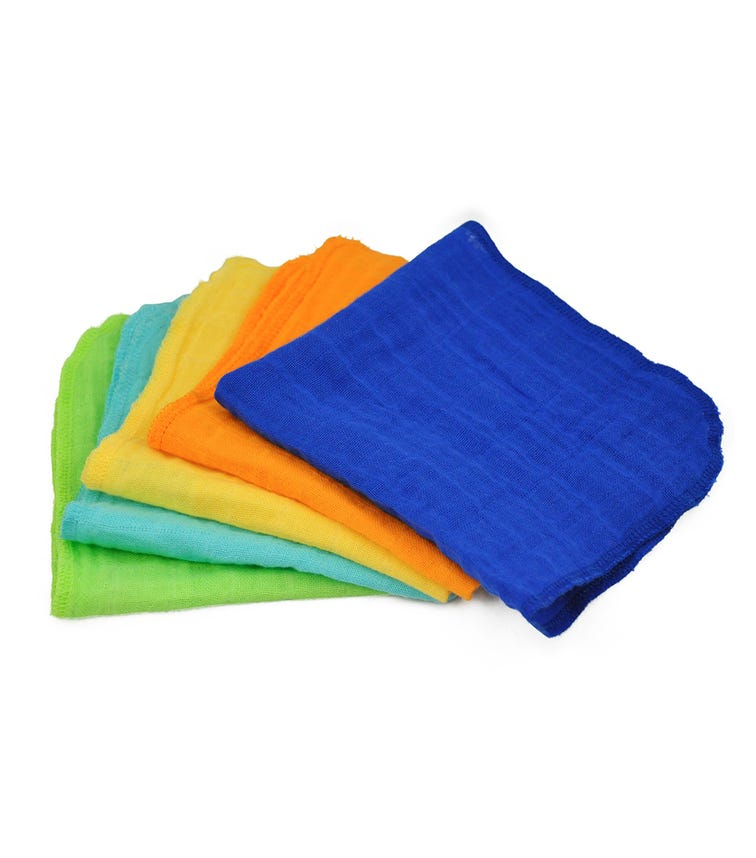 GREEN SPROUTS 5-pack Muslin Face Cloths Made From Organic Cotton (31 x 31 CM) - Blue Set