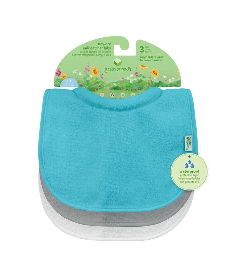GREEN SPROUTS 3-Pack Stay-Dry Milk Catcher Bib (0-6M) - Auqa Set