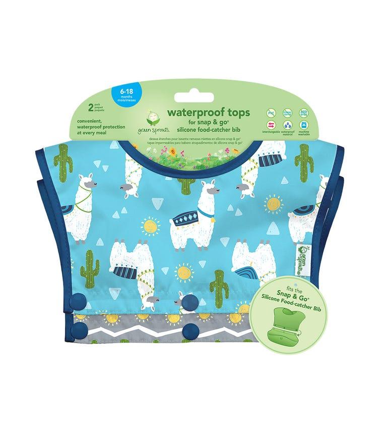 GREEN SPROUTS Waterproof Tops For Snap & Go Silicone Food-Catcher Bib (6-18M) - Aqua Llamas Set