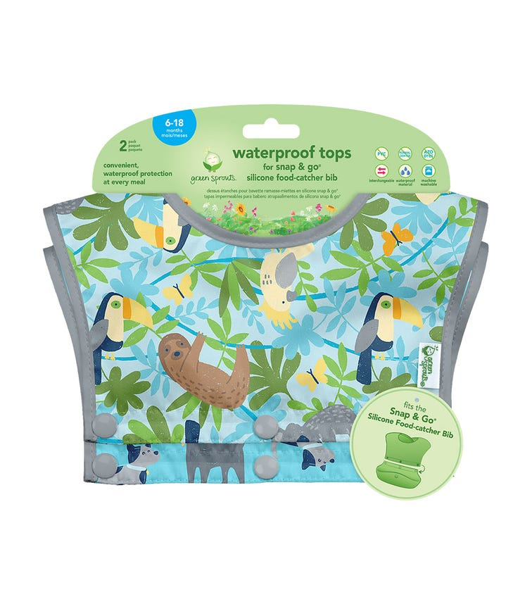 GREEN SPROUTS Waterproof Tops For Snap & Go Silicone Food-Catcher Bib (6-18M) - Aqua Sloth Jungle Set