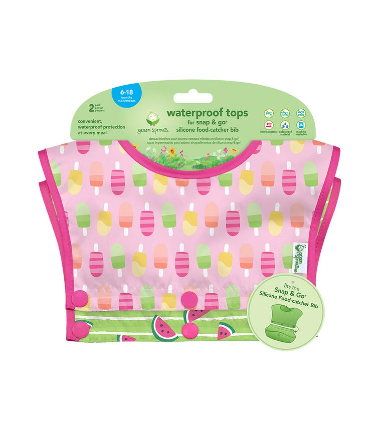 GREEN SPROUTS Waterproof Tops For Snap & Go Silicone Food-Catcher Bib (6-18M) - Pink Popsicles Set