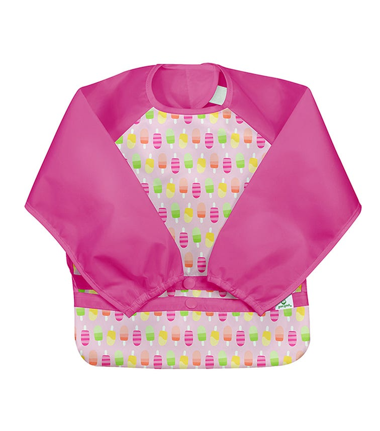GREEN SPROUTS Snap & Go Easy - Wear Long Sleeve Bib (12-24M) - Pink Popsicles
