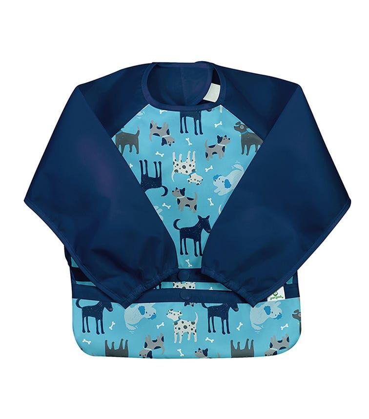 GREEN SPROUTS Snap & Go Easy - Wear Long Sleeve Bib (12-24M) - Aqua Dogs