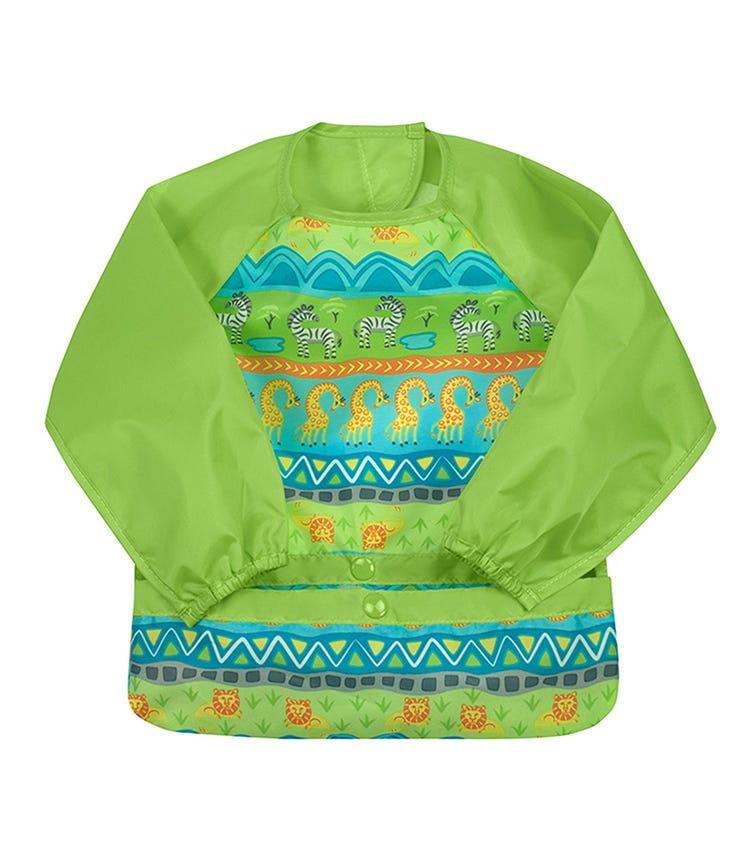 GREEN SPROUTS Snap & Go Easy - Wear Long Sleeve Bib (12-24M) - Green Safari