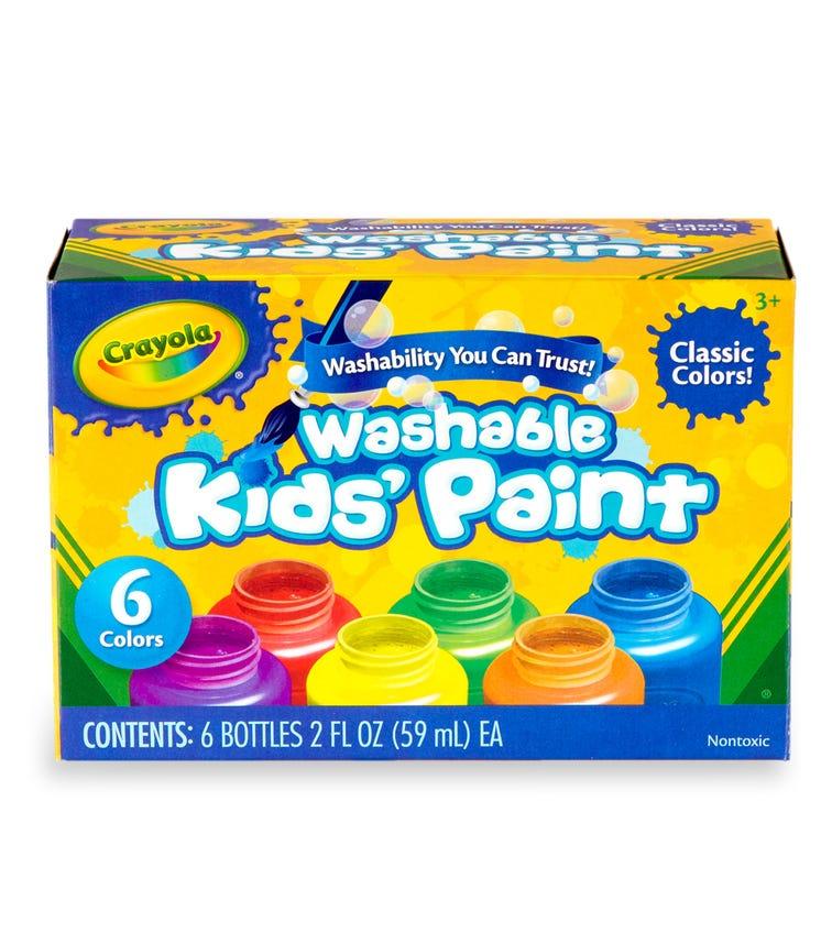 CRAYOLA 6 Crayon Set Washable Kids Paint 2Oz Bottles Colors
