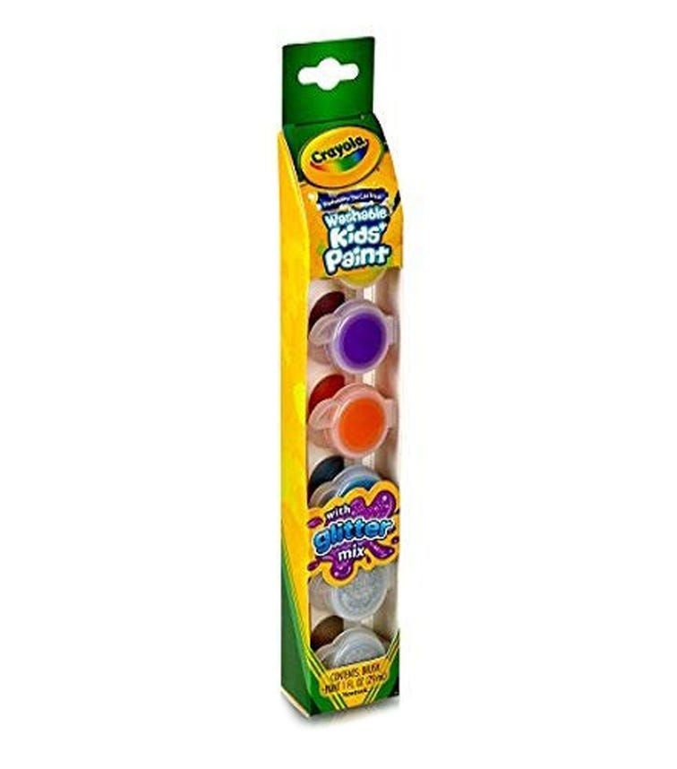 CRAYOLA 6 Crayon Set Washable Kids Paint Pots Glitter effects
