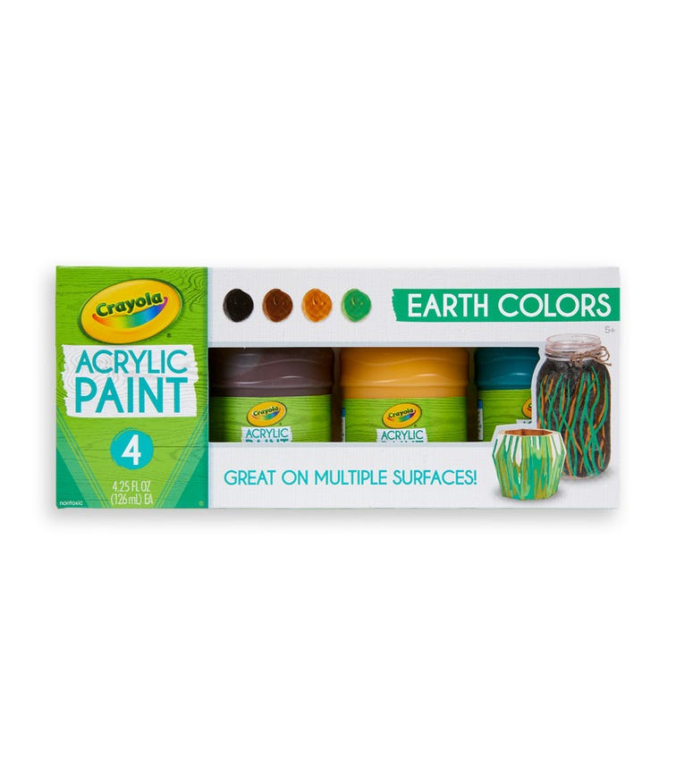 CRAYOLA 4 Crayon Set 4 Oz Multi-Surface Acrylic Earth Colors