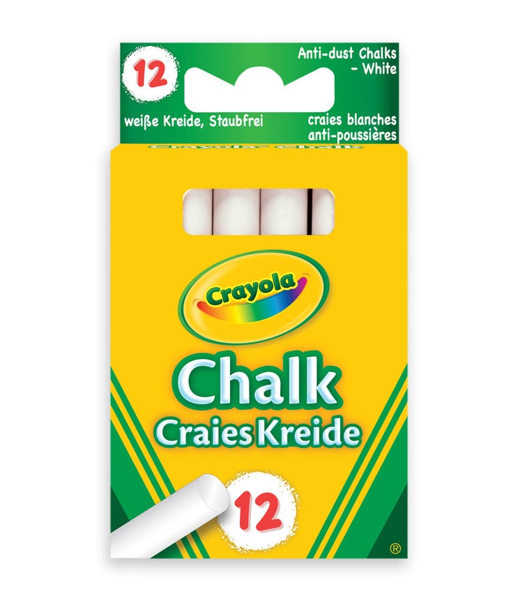 CRAYOLA 12 Crayon Set White Children's Chalk