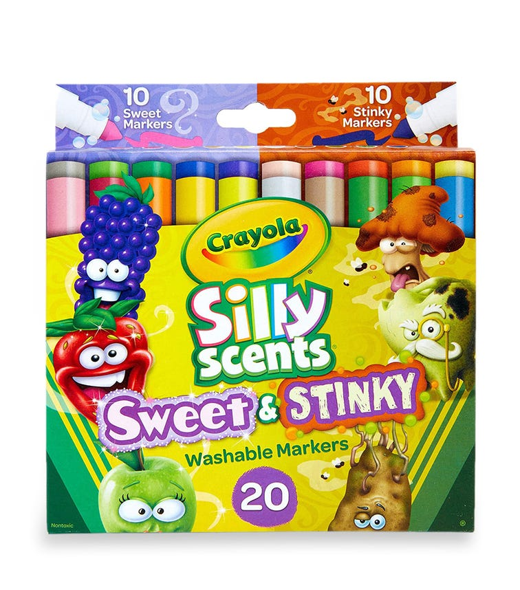 CRAYOLA 20 Crayon Set Silly Scents Washable Broad Line Markers
