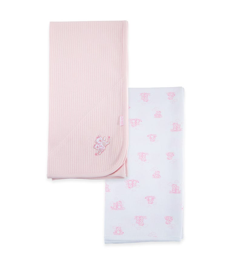 LITTLE ME Wispy Bears 2-Pack Blanket