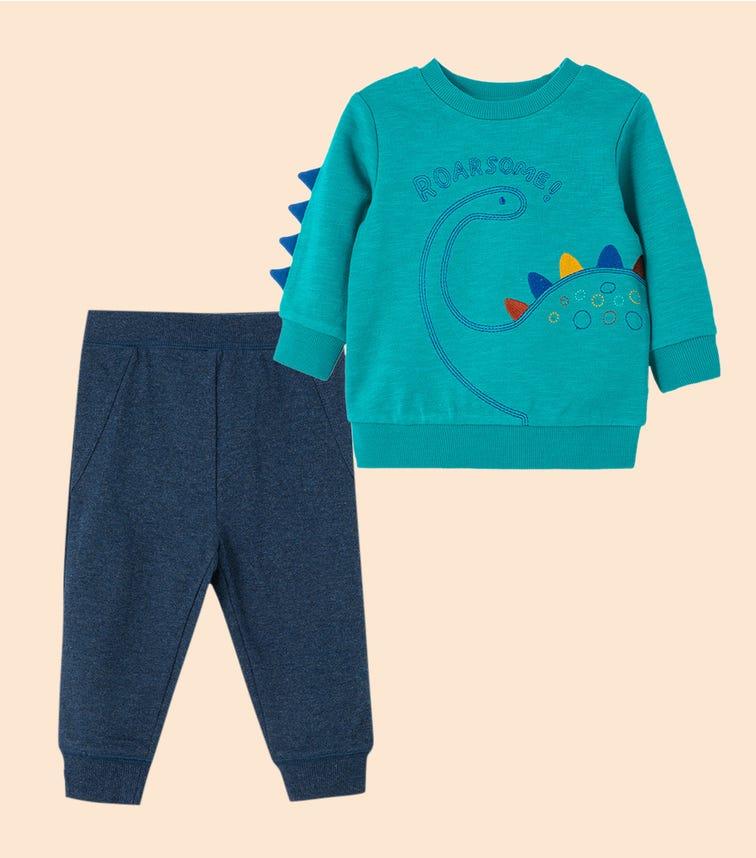 LITTLE ME Dino 2-Piece Sweatshirt Set