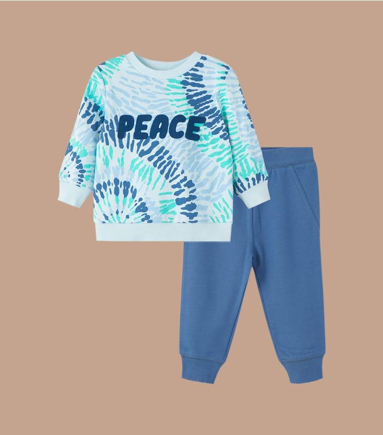 LITTLE ME Tie Dye 2-Piece Sweatshirt Set