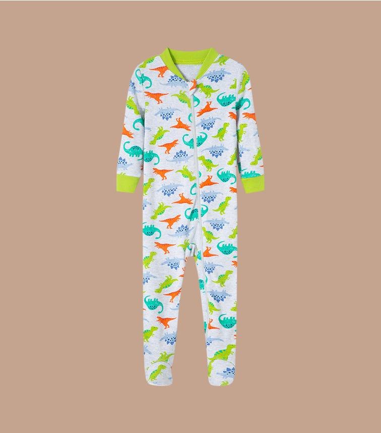 LITTLE ME Dino Front-Zip Up Bodysuit
