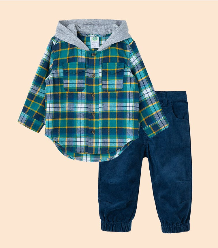 LITTLE ME Teal Paid Woven Pant Set