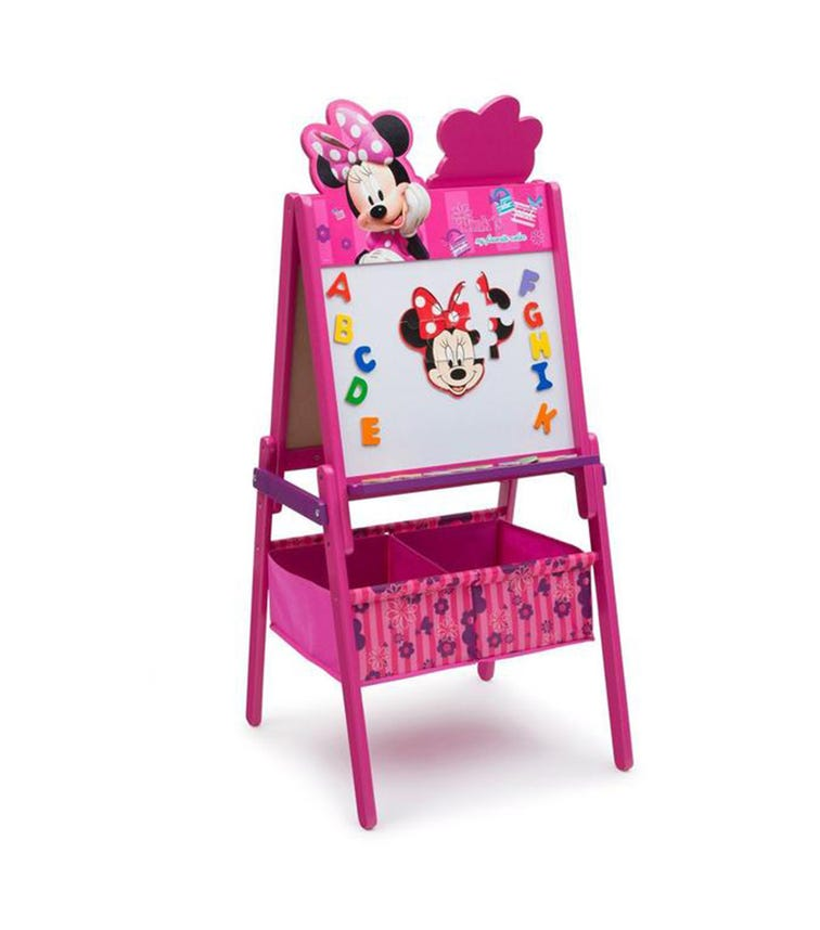 DELTA CHILDREN Minnie Mouse Wooden Easel With Storage