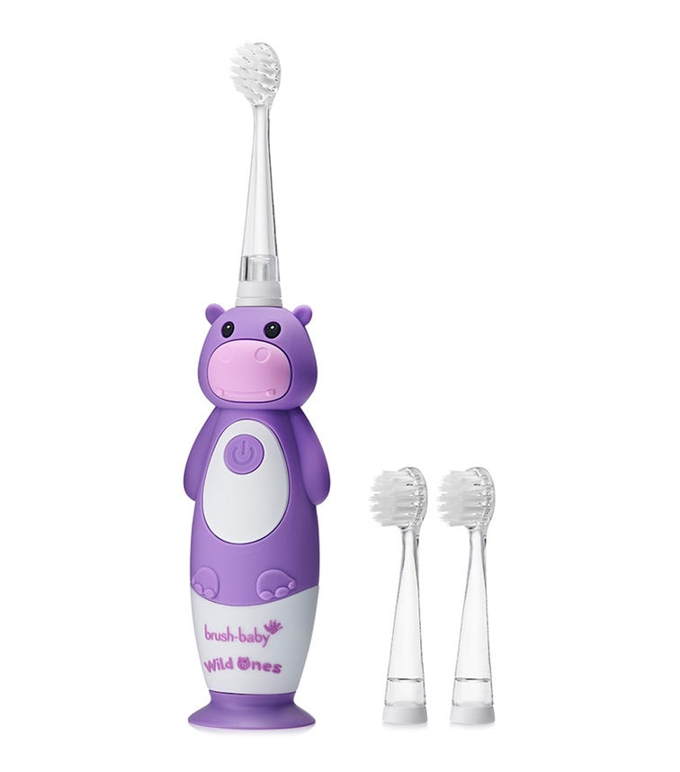 BRUSH BABY New Wild-Ones Rechargeable Toothbrush - Hippo