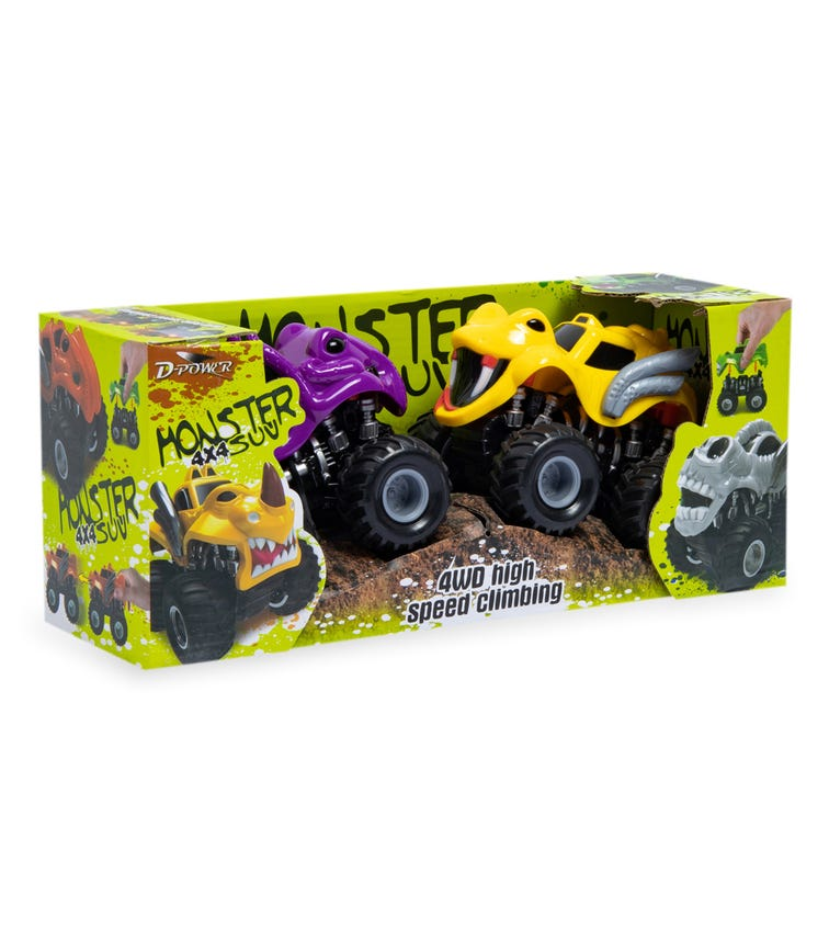 DPOWER 2 Pack 4WD Friction Monsters Car