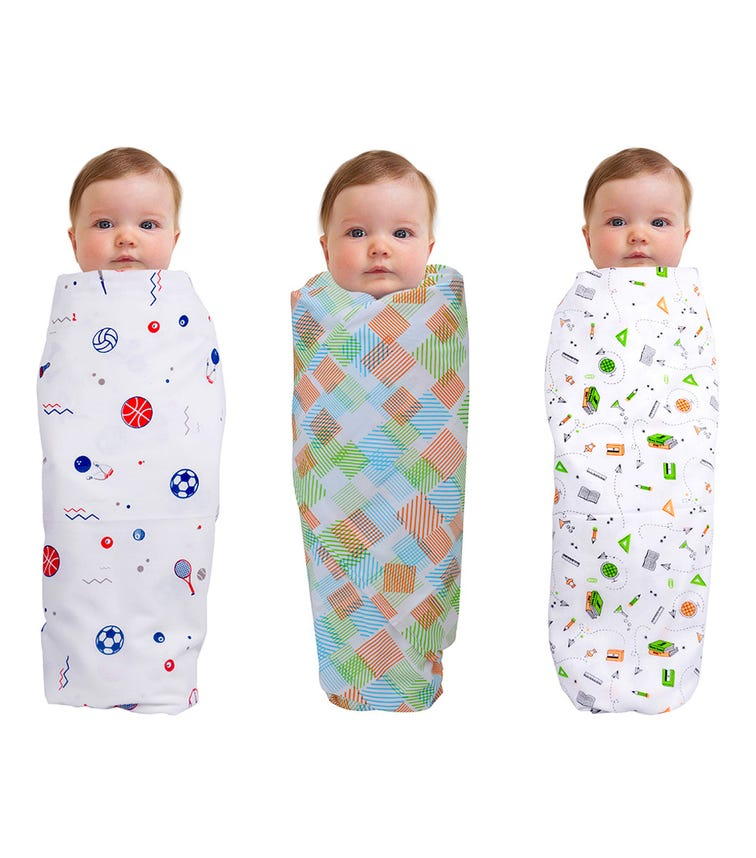 WONDER WEE Swaddles (Pack Of 3) - Stationery-Square-Sports